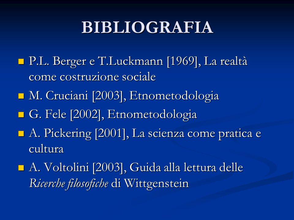 BIBLIOGRAFIA P.L. Berger e T.Luckmann [1969], La realtà come costruzione sociale. M. Cruciani [2003], Etnometodologia.
